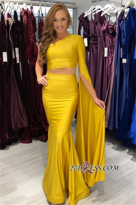 Elegant Pieces One-Shoulder Mermaid Two Prom Dresses_1