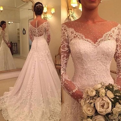 Gorgeous Long Sleeve Lace Wedding Dresses | 2020 Bridal Gowns Zipper Back_2
