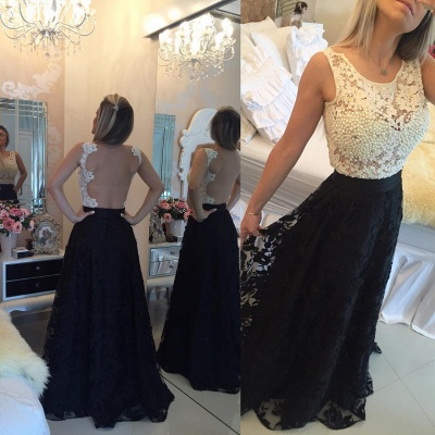 Glamorous Sleeveless Lace Pearls Prom Dresses 2020 Long Party Gowns BT0_3