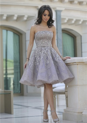 Gorgeous Strapless 2020 Sequins Appliques Short Homecoming Dress MH_4