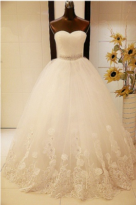 Elegant Sweetheart Sleeveless Ball Gown Wedding Dress With Tulle Lace Beadings_1