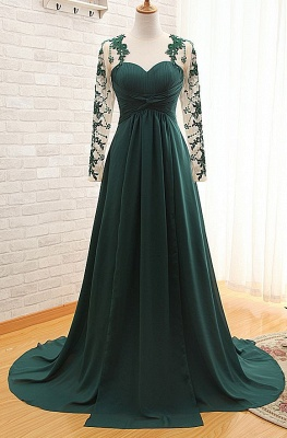 Elegant Long Sleeve Dark Green Evening Dress 2020 Chiffon Long With Appliques_1