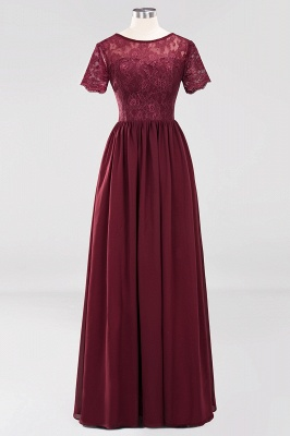 Elegant Crew Short Sleeves Burgundy Prom Dress | 2020 Lace Long Evening Gowns With Zipper_1