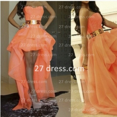 Sexy A-line Long Prom dresses Sweetheart Asymmetrical Gold Belt Girls Hi-lo Evening gown_2