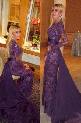 Gorgeous Long Sleeve 2020 Evening Dress Ruffles Sequins Prom Party Dress_2