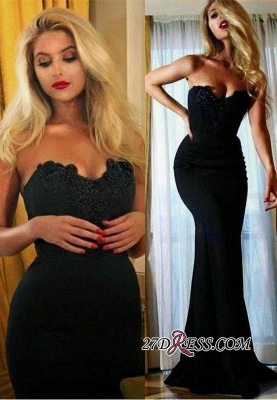 Appliques Sweetheart Mermaid Simple Sexy Black Prom Dress BA4888_2