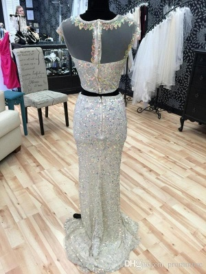 Glamorous Cap Sleeve Sequins Prom Dresses 2020 Two Pieces Slit Beadings_5