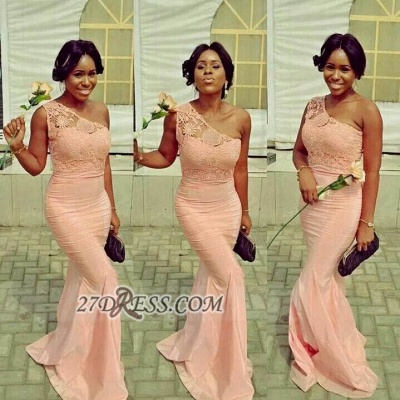 Elegant One-shoulder Sleeveless Mermaid Bridesmaid Dress With Lace Appliques_1