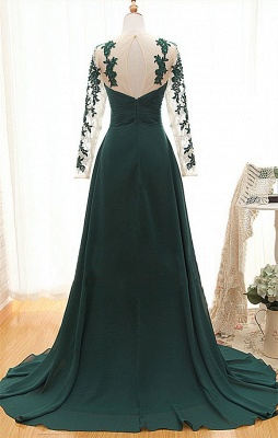 Elegant Long Sleeve Dark Green Evening Dress 2020 Chiffon Long With Appliques_2
