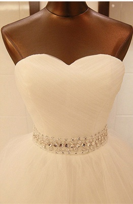 Elegant Sweetheart Sleeveless Ball Gown Wedding Dress With Tulle Lace Beadings_3
