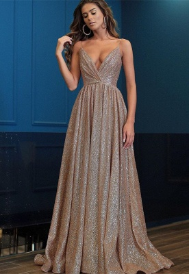 Gorgeous V-Neck Spaghetti-Straps 2020 Prom Dresses | Long Sequins Evening Gown BC0494_1