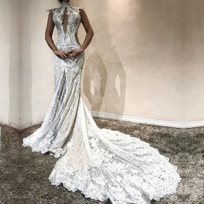 Gorgeous High-Neck Lace Evening Gowns | 2020 Mermaid Prom Dress on Sale_2