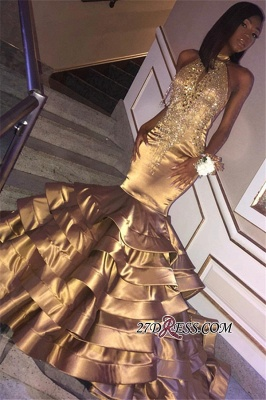 Halter Crystal Ruffles Mermaid Evening Dresses | Gold Sleeveless High Neck Appliques Prom Dresses bk0 bc1604_2