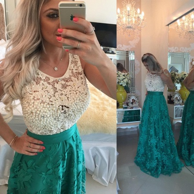 Glamorous Sleeveless Lace Pearls Prom Dresses 2020 Long Party Gowns BT0_6