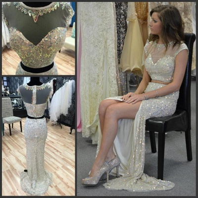 Glamorous Cap Sleeve Sequins Prom Dresses 2020 Two Pieces Slit Beadings_3