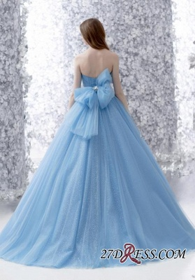Beads A-line Strapless Tulle Romantic Bow Sleeveless Evening Dress_2