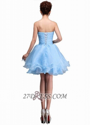 Elegant Semi-sweetheart Sleeveless Short Cocktail Dress Beadings Crystals Lace-up Ruffles Homecoming Gown_2