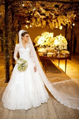 Elegant V-neck Long Sleeve Lace Wedding Dress Ball Gown_1