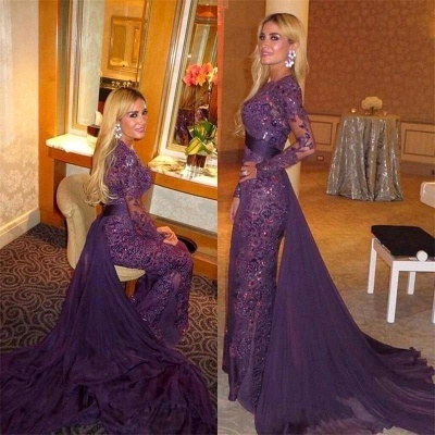 Gorgeous Long Sleeve 2020 Evening Dress Ruffles Sequins Prom Party Dress_3
