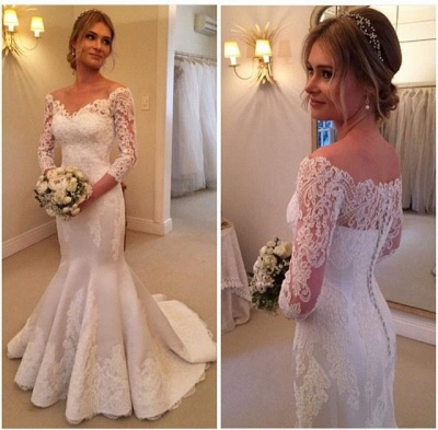 Modern Off-the-shoulder 3/4-longth-sleeve Mermaid Wedding Dress With Lace Appliques_3