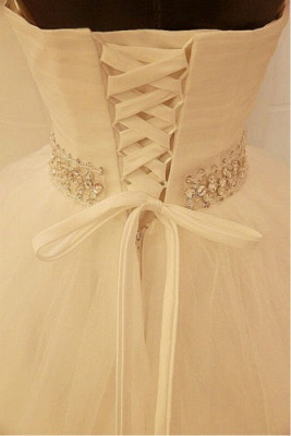 Elegant Sweetheart Sleeveless Ball Gown Wedding Dress With Tulle Lace Beadings_2
