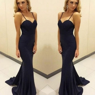 2020 Popular Sweetheart Sleeveless Mermaid Long Prom Gown | Navy Blue Spaghetti Strap Evening Dress On Sale_2