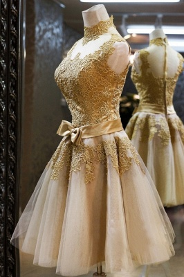 Gorgeous High Neck Sleeveless Golden Appliques Tulle Short Prom Dress_3