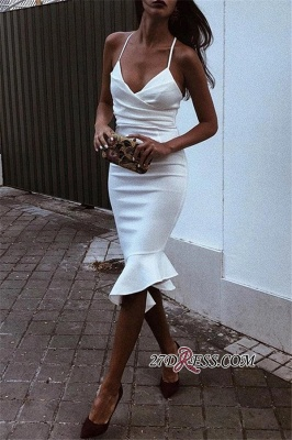 Ruffled White Spaghetti-Straps V-neck Marvelous Evening Dresses_3