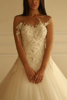 Delicate Sweetheart Tulle Princess Wedding Dress With Flowers Appliques_1