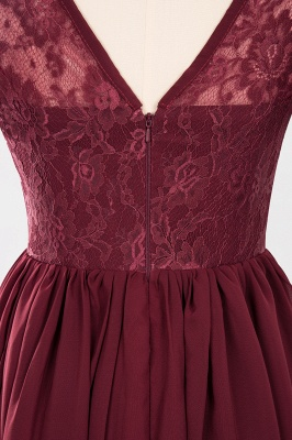 Elegant Crew Short Sleeves Burgundy Prom Dress | 2020 Lace Long Evening Gowns With Zipper_4
