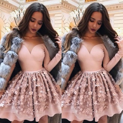 Gorgeous Long Sleeve Pink Homecoming Dress   2020 Short Party Dress Online BC0608_3