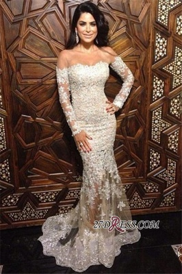 Mermaid Long-Sleeve Appliques Sexy Off-The-Shoulder Lace Charming Illusion Evening Dress JJ0151_3