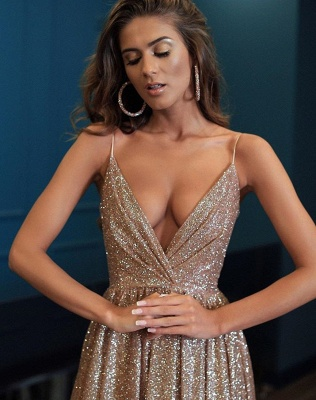 Gorgeous V-Neck Spaghetti-Straps 2020 Prom Dresses   Long Sequins Evening Gown BC0494_3
