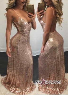 Mermaid Sexy Spaghetti-Strap Backless Sequins Prom Dress_2