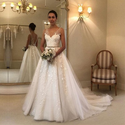 Gorgeous V-Neck Sleeveless 2020 Wedding Dress | Tulle Appliques Bridal Gowns_2
