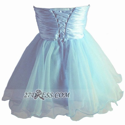 Lovely Sweetheart Sleeveless Short Homecoming Dress Beadings Pearls Bowknot Lace-up Cocktail Gown_2