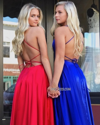 Fascinating A-line Spaghetti-Staps Split Scoop Prom Dresses_2