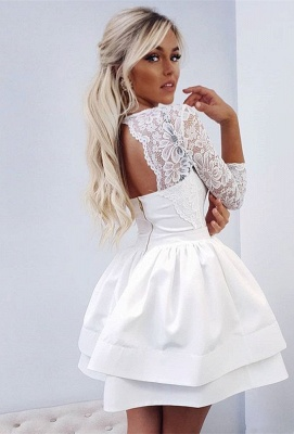 Cute White Long Sleeve Lace Ruffled Homecoming Dress   3/4-length Sleeve Party Gown_2