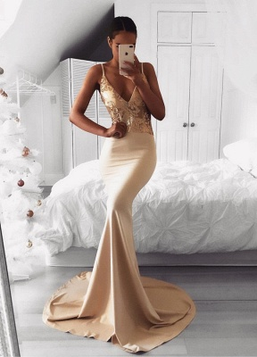 Sexy Spaghetti Strap Gold Sequined Prom Dress | Mermaid Prom Dress BA9015_1