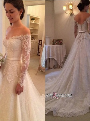 Lace Off-The-Shoulder Long-Sleeves Court-Train New-Arrival Wedding Dress_2