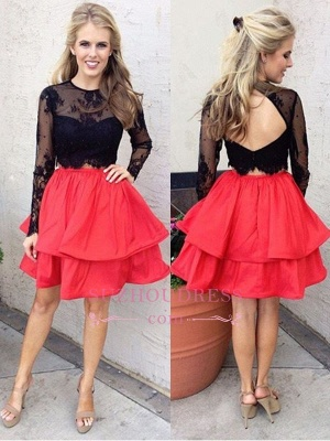 Chic Lace Black Red Two-Piece Long-Sleeves A-line Homecoming Dresses_1
