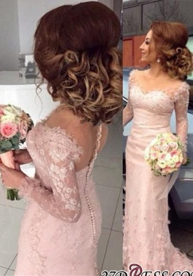 Lace Appliques Buttons Sheer Sheath Long-Sleeve Pink Prom Dress BA6203_3