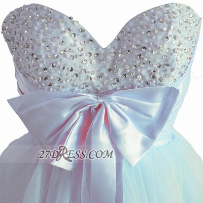 Lovely Sweetheart Sleeveless Short Homecoming Dress Beadings Pearls Bowknot Lace-up Cocktail Gown_3