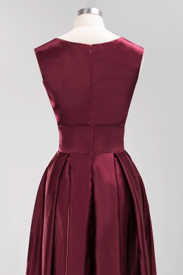 Charming Sleeveless V-Neck Prom Dress | Long Burgundy Evening Gowns With Ribbon And Zipper_5
