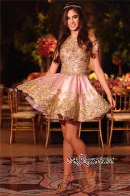 Gold Lovely Appliques Short Lace Pink Off-The-Shoulder Homecoming Dress BA6543_4