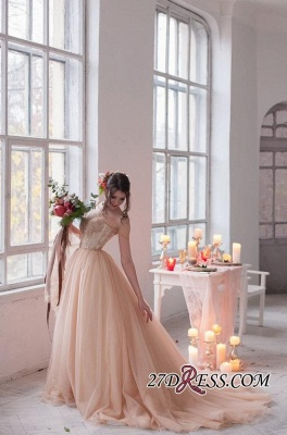 Tulle Sweetheart Lace Fairy Appliques Spaghetti-Strap Long Wedding Dress_1