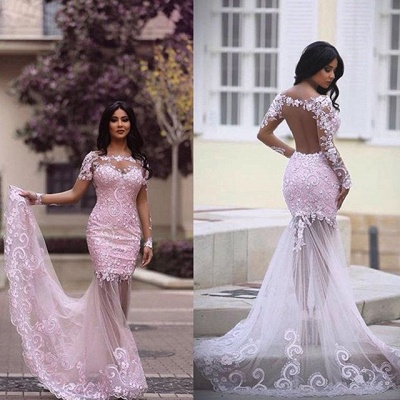 Gorgeous Long Sleeve Lace Appliques 2020 Evening Dress Mermaid Sheer Skirt Prom Gown_3