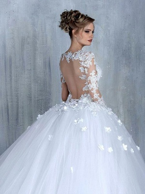 Elegant Long Sleeve White 2020 Wedding Dress tulle Ball Gown Appliques_3