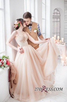 Tulle Sweetheart Lace Fairy Appliques Spaghetti-Strap Long Wedding Dress_5
