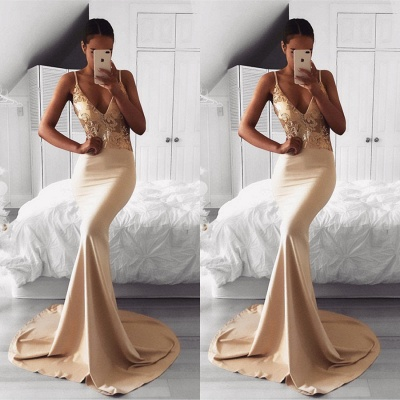 Sexy Spaghetti Strap Gold Sequined Prom Dress | Mermaid Prom Dress BA9015_3
